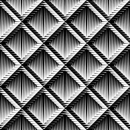 convex: Design seamless diamond convex pattern. Abstract geometric monochrome background. Vector art. No gradient