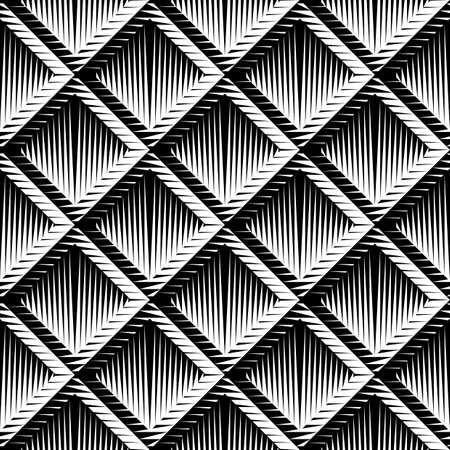 checkered volume: Design seamless diamond convex pattern. Abstract geometric monochrome background. Vector art. No gradient
