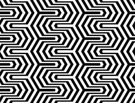 deform: Design seamless monochrome zigzag geometric pattern. Abstract stripy background. Vector art