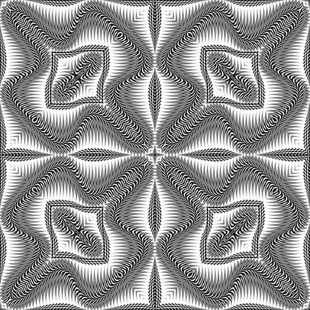 no gradient: Design seamless monochrome waving pattern. Abstract textured background. Vector art. No gradient