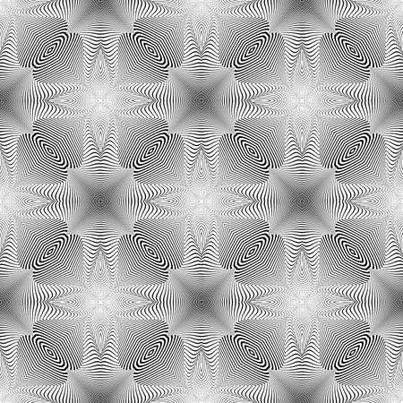 torsion: Design seamless monochrome illusion background. Abstract striped torsion pattern. Vector art. No gradient