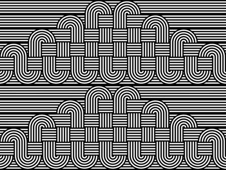 stripy: Design seamless monochrome interlaced pattern. Abstract stripy background. Vector art