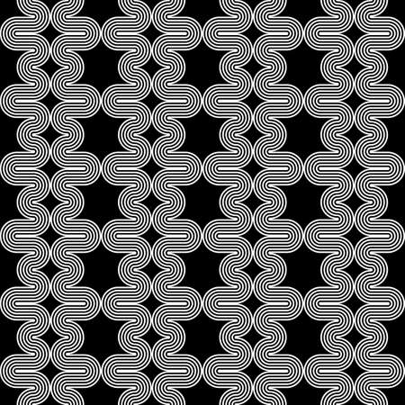 deform: Design seamless monochrome waving zigzag pattern. Abstract stripy background. Vector art