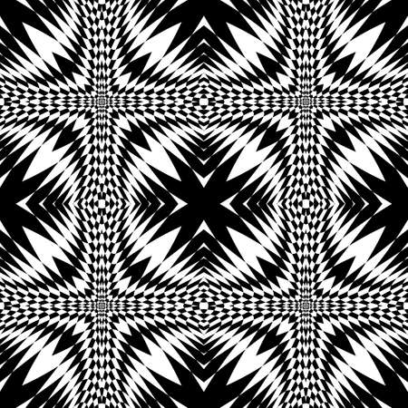 deform: Design seamless monochrome geometric pattern. Abstract illusion background. Vector art. No gradient Illustration