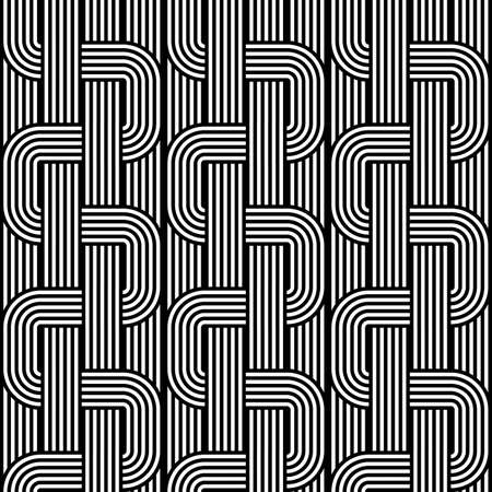 deform: Design seamless monochrome waving pattern. Abstract stripy background. Vector art Illustration