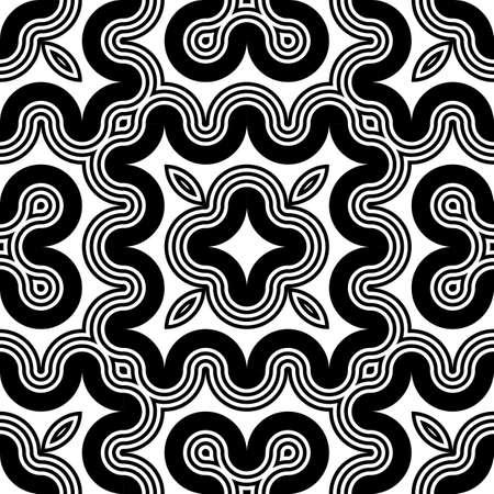 black lines: Design seamless monochrome decorative pattern. Abstract striped background. Vector art Illustration