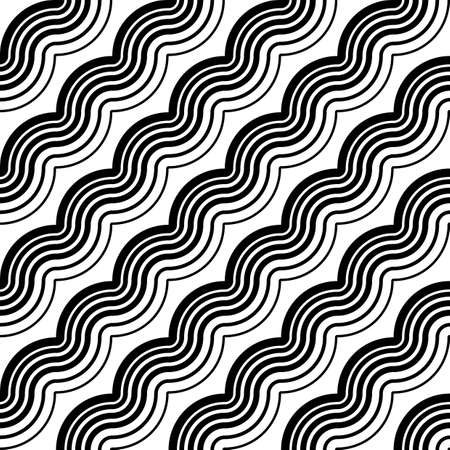 deform: Design seamless monochrome waving pattern. Abstract diagonal background. Vector art
