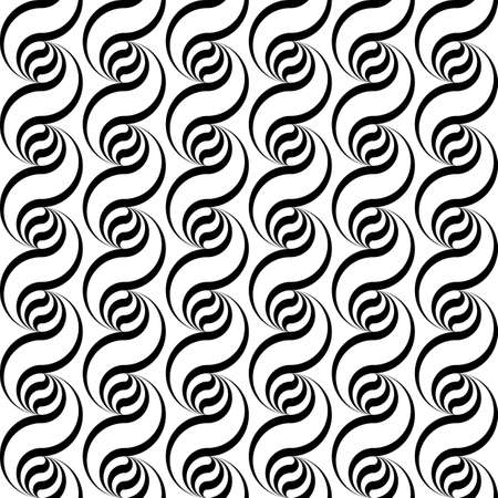 deform: Design seamless monochrome waving pattern. Abstract vertical background. Vector art Illustration