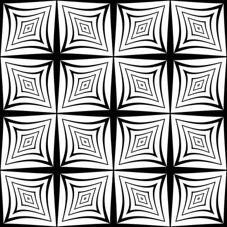 deform: Design seamless striped pattern. Abstract geometric monochrome background. Vector art. No gradient Illustration