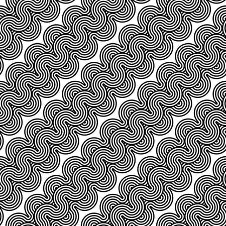 deform: Design seamless monochrome waving zigzag pattern. Abstract stripy background. Vector art