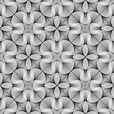 no lines: Design seamless monochrome flower pattern. Abstract lines textured background. Vector art. No gradient Illustration