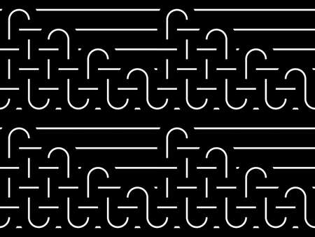 deform: Design seamless monochrome interlaced pattern. Abstract stripy background. Vector art
