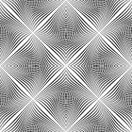 trellis: Design seamless monochrome illusion background. Abstract grid torsion pattern. Vector art. No gradient