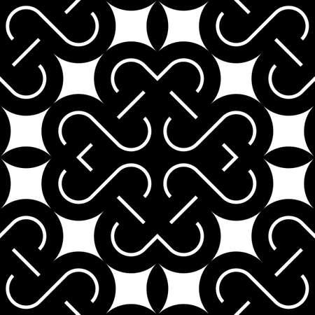 interlace: Design seamless monochrome decorative pattern. Abstract background. Vector art