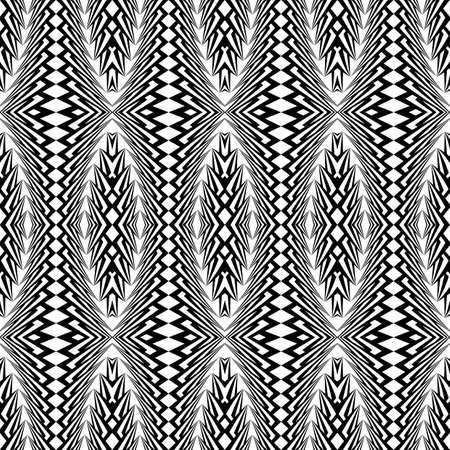 elipse: Design seamless monochrome ellipse pattern. Abstract warped textured background. Vector art. No gradient Vectores