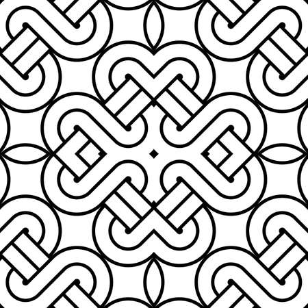 interlace: Design seamless monochrome decorative pattern. Abstract striped background. Vector art Illustration