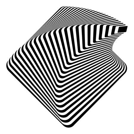 pyramidal: Design monochrome pyramid illusion background. Abstract stripe torsion backdrop. Vector-art illustration