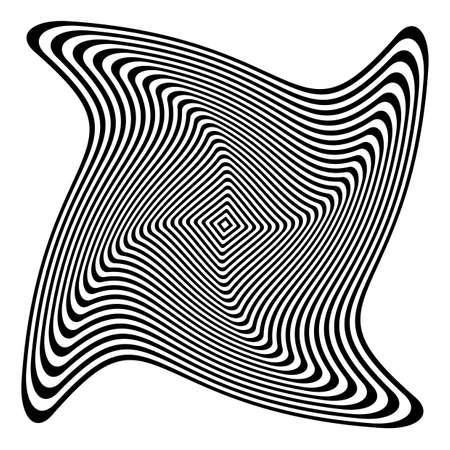 torsion: Design monochrome illusion background. Abstract stripe torsion backdrop. Vector-art illustration