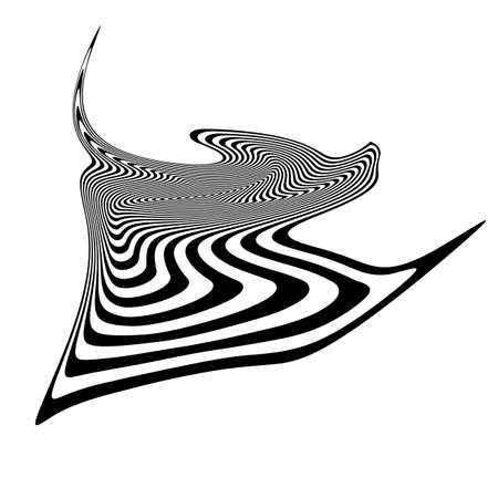 salient: Design monochrome illusion background. Abstract stripe torsion backdrop. Vector-art illustration