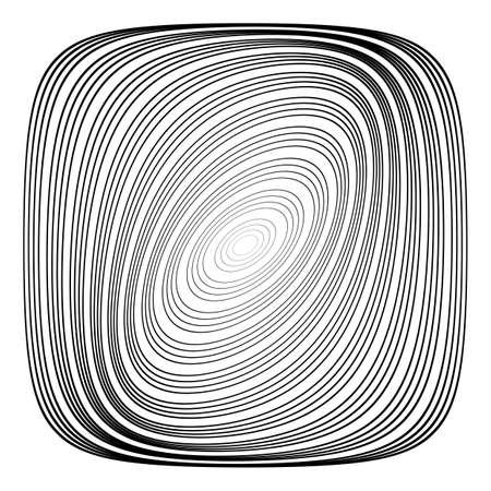 convex shape: Design monochrome ellipse background. Abstract torsion illusion backdrop. Vector-art illustration. No gradient Illustration