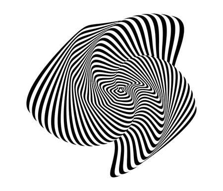 curl whirlpool: Design monochrome illusion background. Abstract stripe torsion backdrop. Vector-art illustration