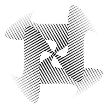 torsion: Design monochrome illusion decorative background. Abstract stripe torsion backdrop. Vector-art illustration. No gradient