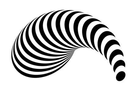 curl whirlpool: Design monochrome geometric illusion. Abstract stripe torsion backdrop. Vector-art illustration
