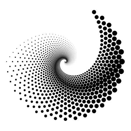 Design spiral dots element. Abstract monochrome backdrop. Vector art. No gradient
