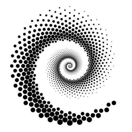 Disegnare l'elemento a punti a spirale. Sfondo monocromatico astratto. Arte vettoriale. Nessun gradiente Vettoriali