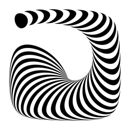 convex shape: Design monochrome geometric illusion. Abstract stripe torsion backdrop. Vector-art illustration