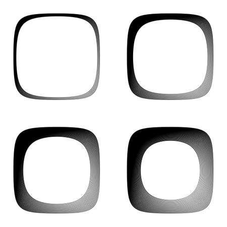 no gradient: Set of lines textured frames. Vector-art illustration. No gradient