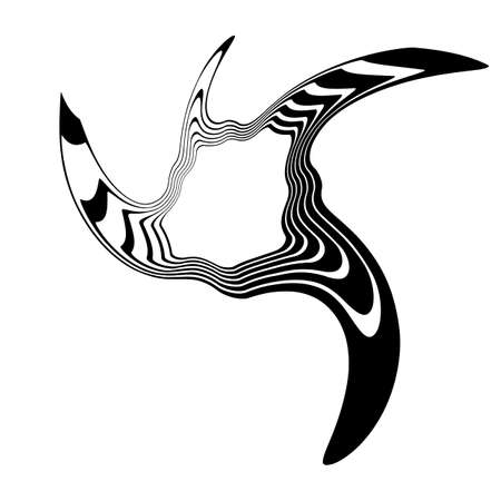torsion: Design monochrome illusion background. Abstract stripe torsion backdrop. Vector-art illustration. No gradient