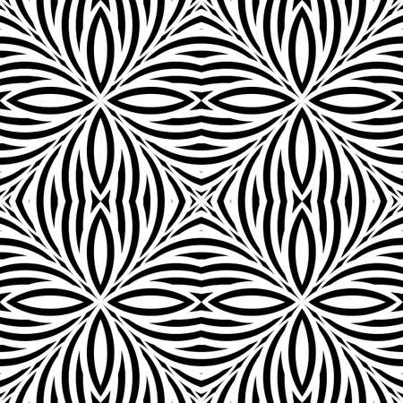 bend: Design seamless monochrome striped pattern. Abstract background. Vector art