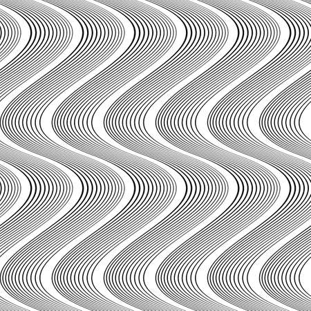 striped band: Design seamless monochrome waving pattern. Abstract vertical background. Vector art. No gradient Illustration