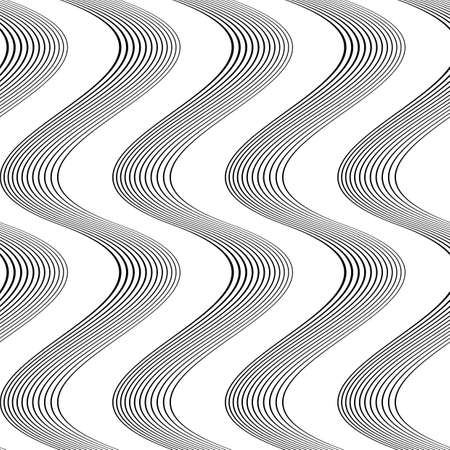 no gradient: Design seamless monochrome waving pattern. Abstract background. Vector art. No gradient