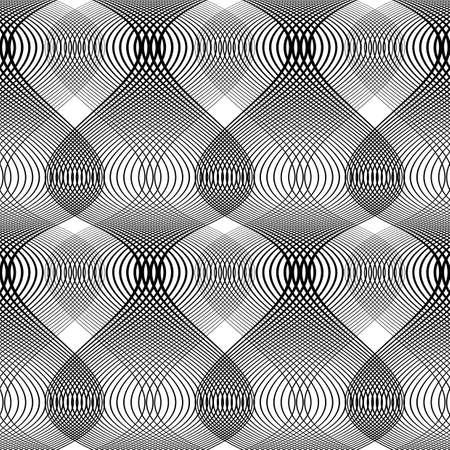 Projekt bezszwowych monochromatycznych falowania wzorca. Streszczenie tle. Wektor sztuki. Brak gradientu