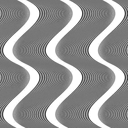 striped band: Design seamless monochrome waving pattern. Abstract background. Vector art. No gradient