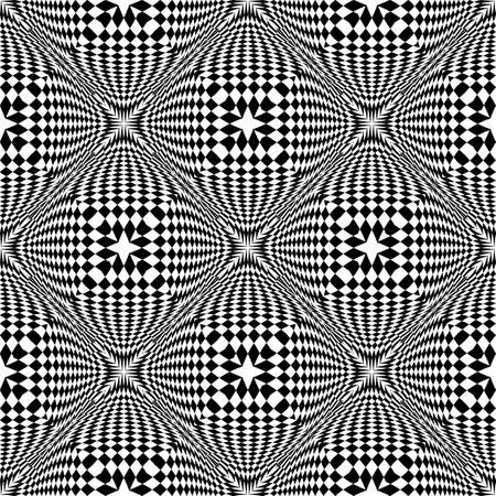 convex shape: Design seamless monochrome checked pattern. Abstract geometric background. Vector art. No gradient Illustration