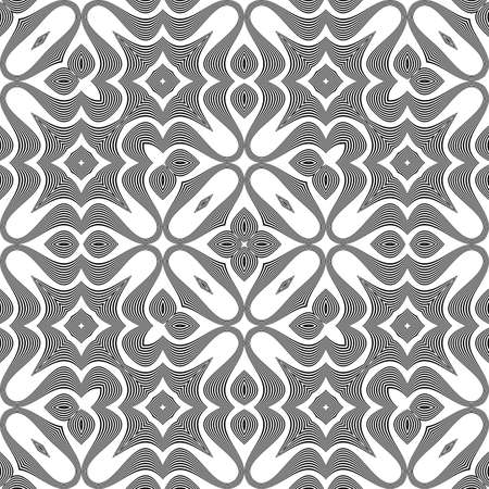 deform: Design seamless monochrome waving pattern. Abstract decorative background. Vector art Illustration