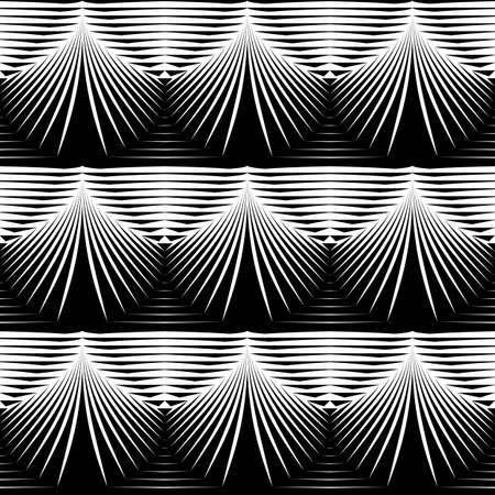 convex: Design seamless monochrome shell pattern. Abstract striped background. Vector art. No gradient Illustration
