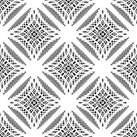 deform: Design seamless monochrome lacy pattern. Abstract geometric background. Vector art. No gradient Illustration