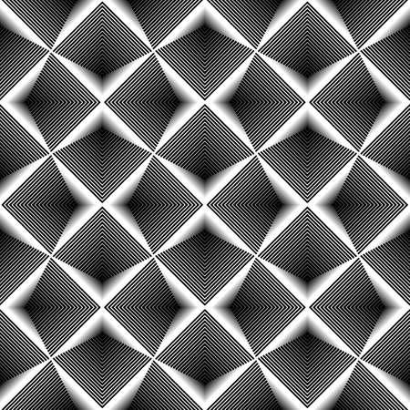 Ontwerpen naadloze zwart-wit diamantpatroon. Abstracte gestreepte geweven achtergrond. Vector art. geen gradiënt Vector Illustratie