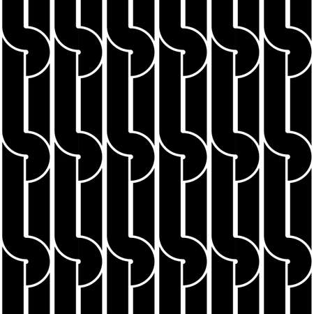 bends: Design seamless monochrome geometric pattern. Abstract background. Vector art