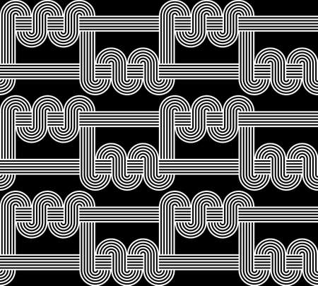 deform: Design seamless monochrome waving pattern. Abstract stripy background. Vector art Illustration