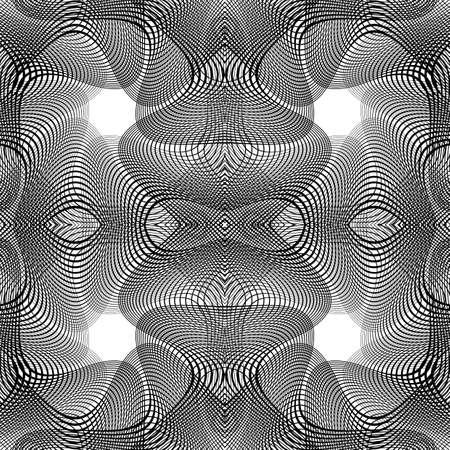 deform: Design seamless monochrome waving pattern. Abstract background. Vector art. No gradient