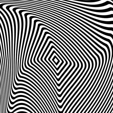 convex shape: Design monochrome illusion background. Abstract stripe torsion backdrop. Vector-art illustration. No gradient