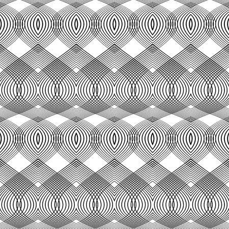 deform: Design seamless monochrome lines textured pattern. Abstract decorative background. Vector art. No gradient Illustration