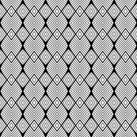 no gradient: Design seamless monochrome striped pattern. Abstract diamond background. Vector art. No gradient