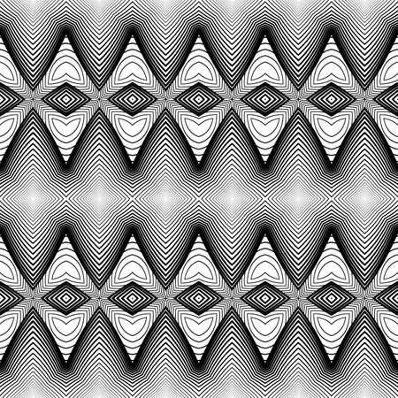 no gradient: Design seamless monochrome zigzag pattern. Abstract textured background. Vector art. No gradient Illustration
