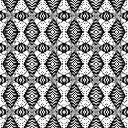 no gradient: Design seamless monochrome diamond pattern. Abstract textured background. Vector art. No gradient Illustration